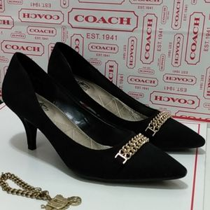 👠Like New, Coach Chain Suede Pumps